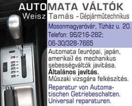 Automataváltók Weisz Tamás - Gépjárműtechnikus
