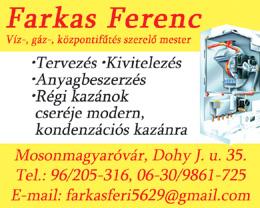 Farkas Ferenc Víz-, gáz-, központifűtés szerelő mester