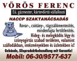 Vörös Ferenc Eü. gázmester, kártevoirtó vállalkozó